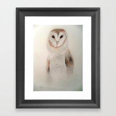 Owl in the fog Framed Art Print