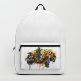 Oldtimer Automobile Watercolor Painting Backpack