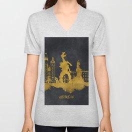 Krakow skyline gold black #cracow Unisex V-Neck