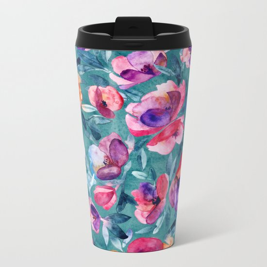 Flourish - a watercolor floral in pink and teal Metal Travel Mug