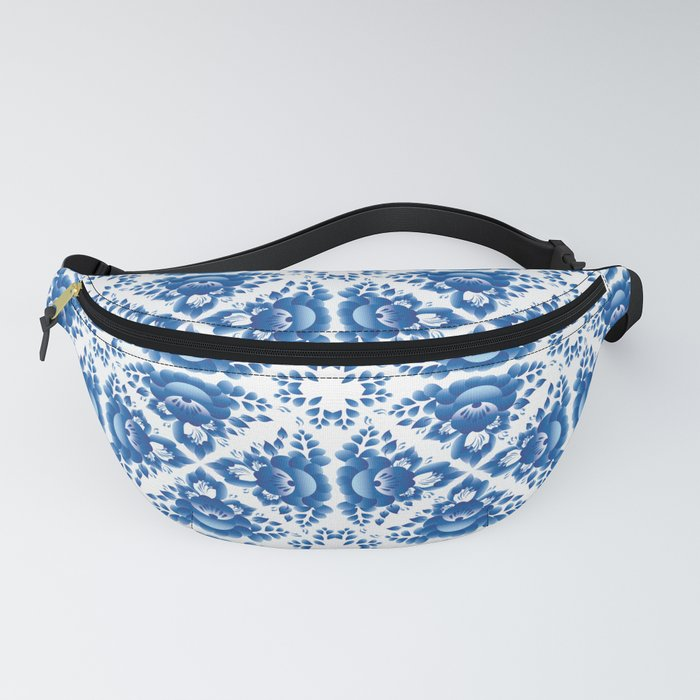 Vintage shabby Chic Seamless pattern with blue flowers and leaves Fanny Pack