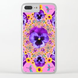 PURPLE PANSIES YELLOW FLOWERS PINK GARDEN Clear iPhone Case