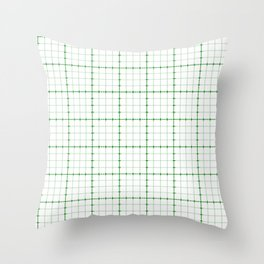 Dotted Grid Weave Green Throw Pillow