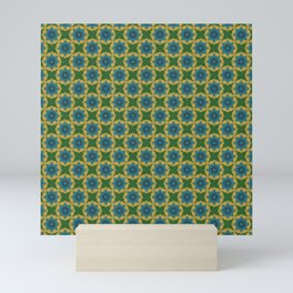 Savvy - Green, Blue and Beige Geometric Repeating Design Decor Mini Art Print
