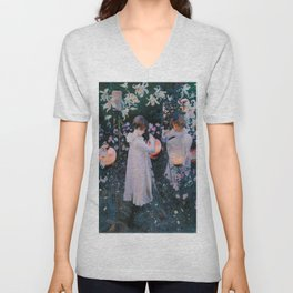 John Singer Sargent's Carnation, Lily, Lily, Rose Unisex V-Neck