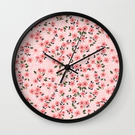 29 Cute floral pattern. Pink flowers. Wall Clock