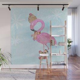 Winter Woodland Stranger- Cute Flamingo Bird Snowy Forest Illustration Wall Mural