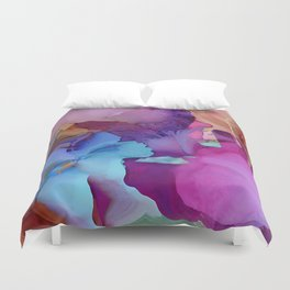 Alcohol Ink Flowers Duvet Cover