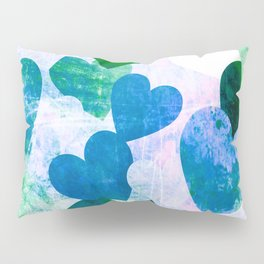 Fab Green & Blue Grungy Hearts Design Pillow Sham