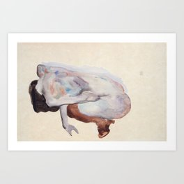 Crouching Nude in Shoes and Black Stockings, Egon Schiele Art Print