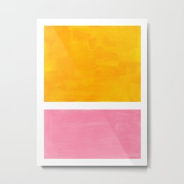 Pastel Yellow Pink Rothko Minimalist Mid Century Abstract Color Field Squares Metal Print