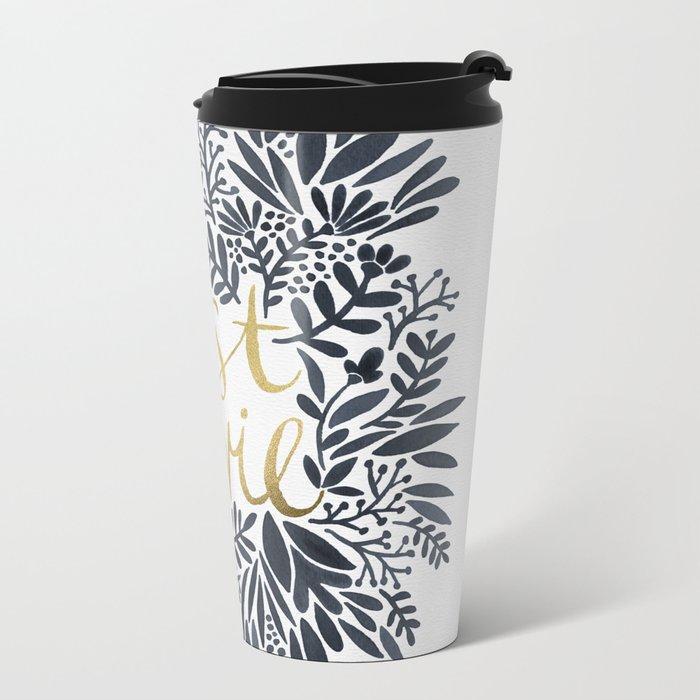 C'est la Vie – Grey & Gold Metal Travel Mug