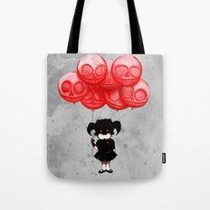 Creepy Girl Skeleton Balloons  Tote Bag