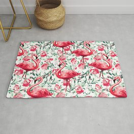 Flowers and Flamingos Rug