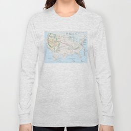 National Parks Trail Map Long Sleeve T-shirt