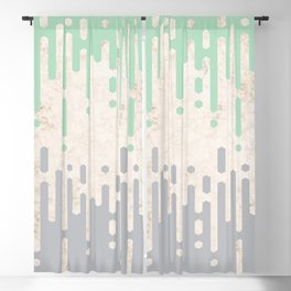Marble and Geometric Diamond Drips, in Grey and Mint Blackout Curtain