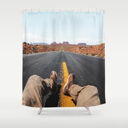 on the road in the monument valley Shower Curtain