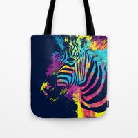 zebra Tote Bags featuring Zebra Splatters by Olechka