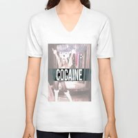 cocaine V-neck T-shirts featuring Cocaine by Randall Hansen