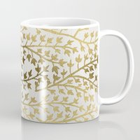 gold Mugs featuring Gold Ivy by Cat Coquillette