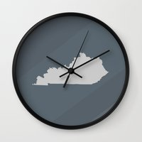 kentucky Wall Clocks featuring Kentucky State by Eric Heikkinen