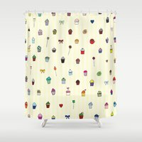 cupcakes Shower Curtains featuring Cupcakes by kvinnan
