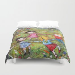 Autumn Mistral, playing ring-a-ring-a-rosie on a windy day Duvet Cover