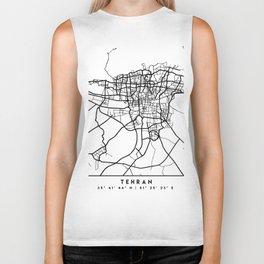 TEHRAN IRAN BLACK CITY STREET MAP ART Biker Tank