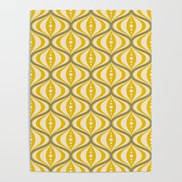 Retro Mid-Century Saucer Pattern in Yellow, Gray, Cream Poster
