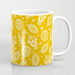 Floral Pattern Tulips and Leaves Coffee Mug