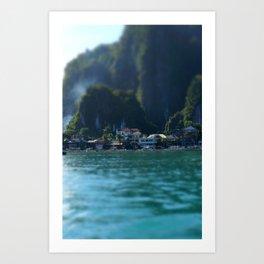 Cliffside village Art Print