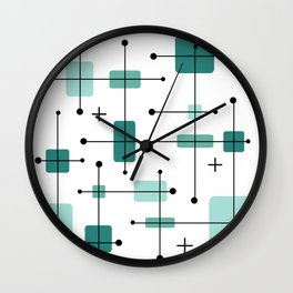 Rounded Rectangles Squares Teal 2 Wall Clock