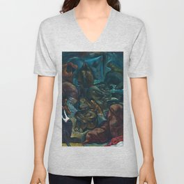 Classical Masterpiece 'Temascal II' by Jean Charlot Unisex V-Neck