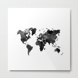 World Map   Black and White Watercolour Metal Print