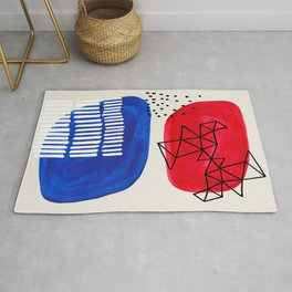 Fun Abstract Minimalist Mid Century Modern Colorful Shapes Red Blue Color Harmony Watercolor Bubbles Rug