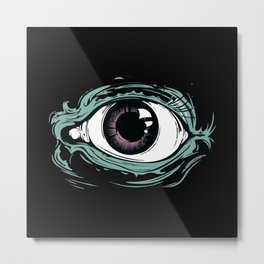 """I See You"" Black Pattern Metal Print"