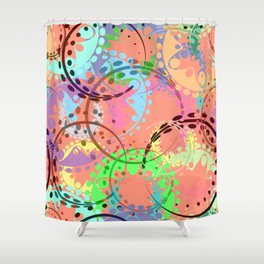Texture of pastel gears and laurel wreaths in kaleidoscopic pink style. Shower Curtain