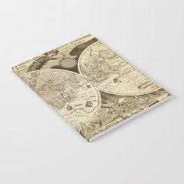 Antique world map with sail ships, sepia Notebook