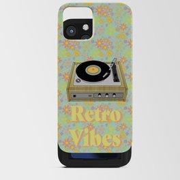 Retro Vibes Record Player Design in Yellow iPhone Card Case