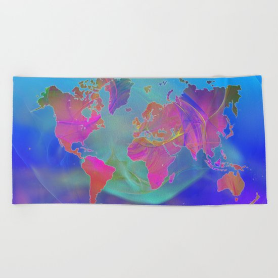 World Map Fractal Beach Towel