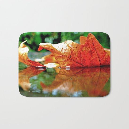 Autumn leaf reflected Bath Mat