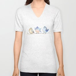 Hand drawing watercolor  bird with leaves, branches and feathers. Watercolour art Unisex V-Neck