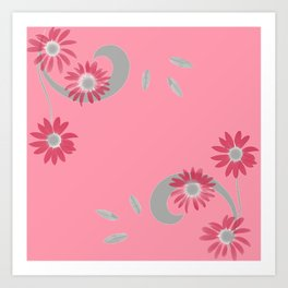 Floral Scroll Design - Strawberry Red Art Print