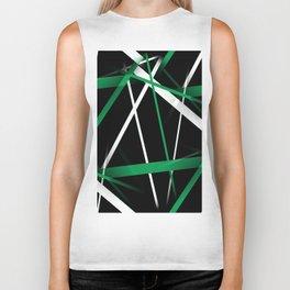 Seamless Aqua Green and White Stripes on A Black Background Biker Tank