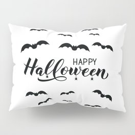 Happy Halloween calligraphy hand lettering with silhouette of spiders and bats Pillow Sham