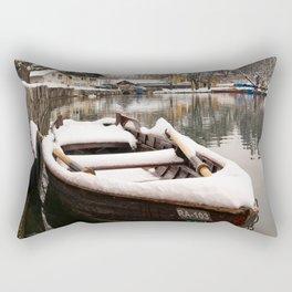 Boats At The Bled Lake Rectangular Pillow