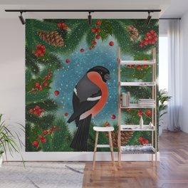 Bullfinch bird with fir tree decoration Wall Mural