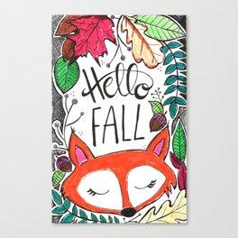 Hello Fall Fox Canvas Print