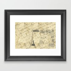 Parisian French Script Framed Art Print
