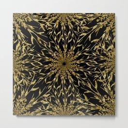 Black Gold Glam Nature Metal Print